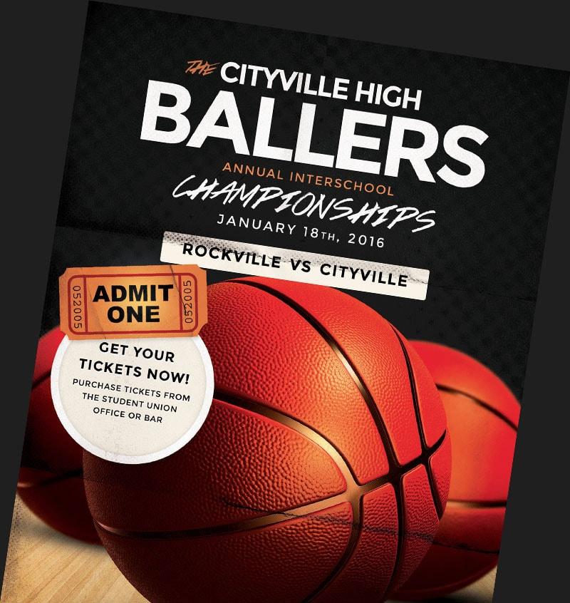 basketball flyer templates for basketball event promotions flyerheroes. Black Bedroom Furniture Sets. Home Design Ideas