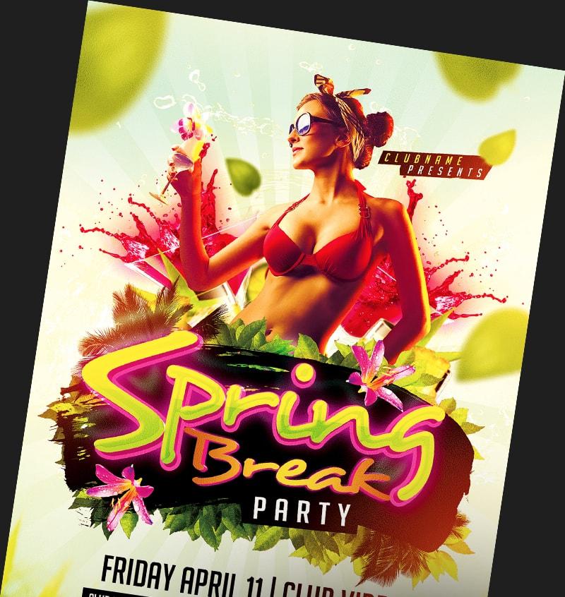 Spring break flyer templates for photoshop flyerheroes for Flyerheros