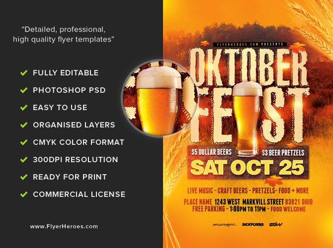 Rustic Oktoberfest Flyer Template - FlyerHeroes