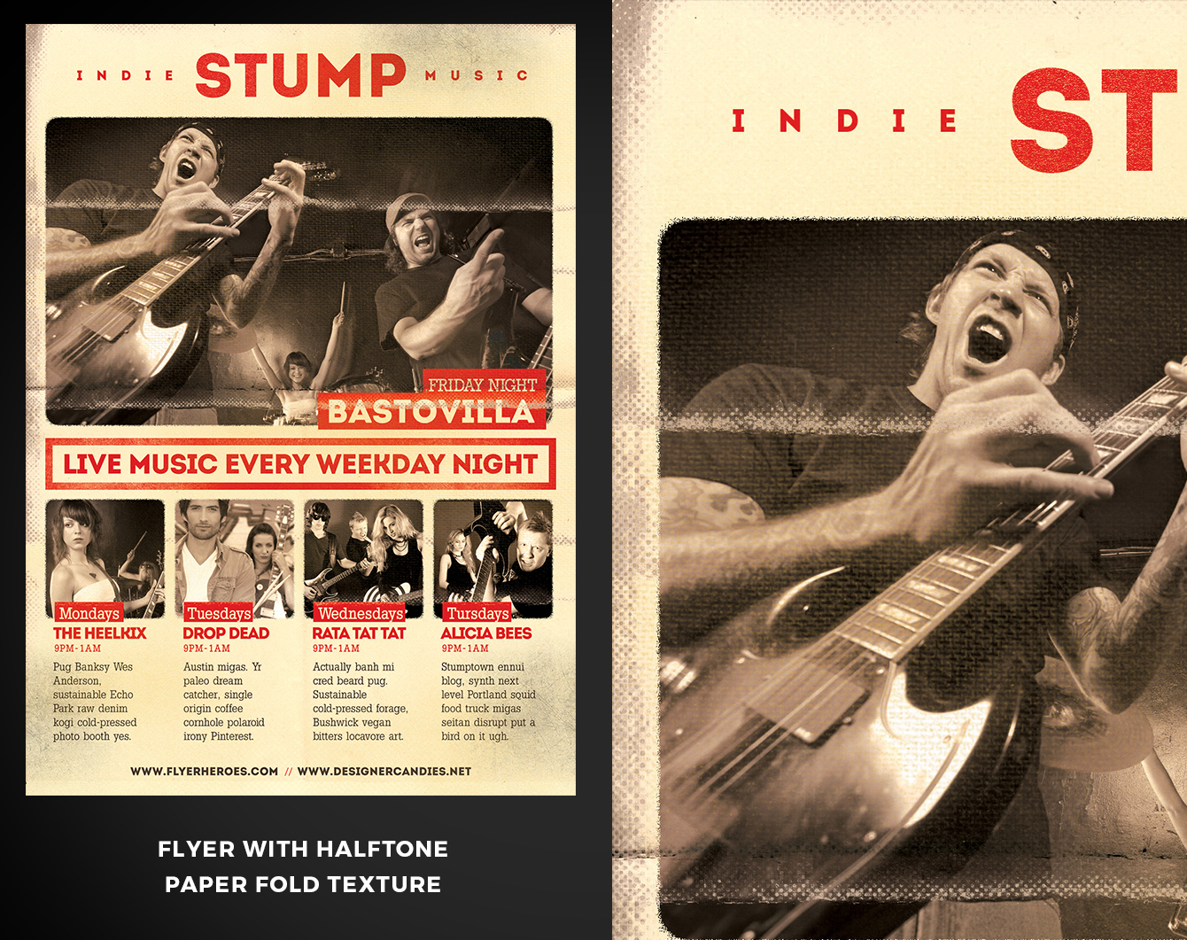 An example of using paper fold textures on Indie Stump Poster Template.