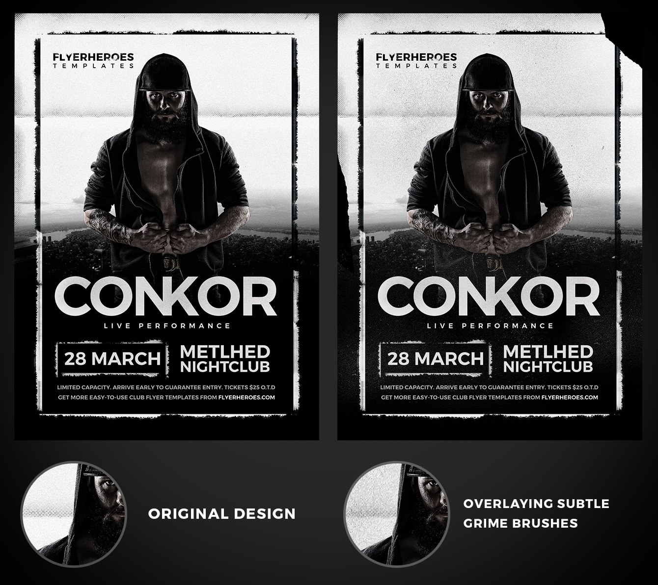 An example of how to overlay grime on flyer designs, using Conkor Flyer Template.