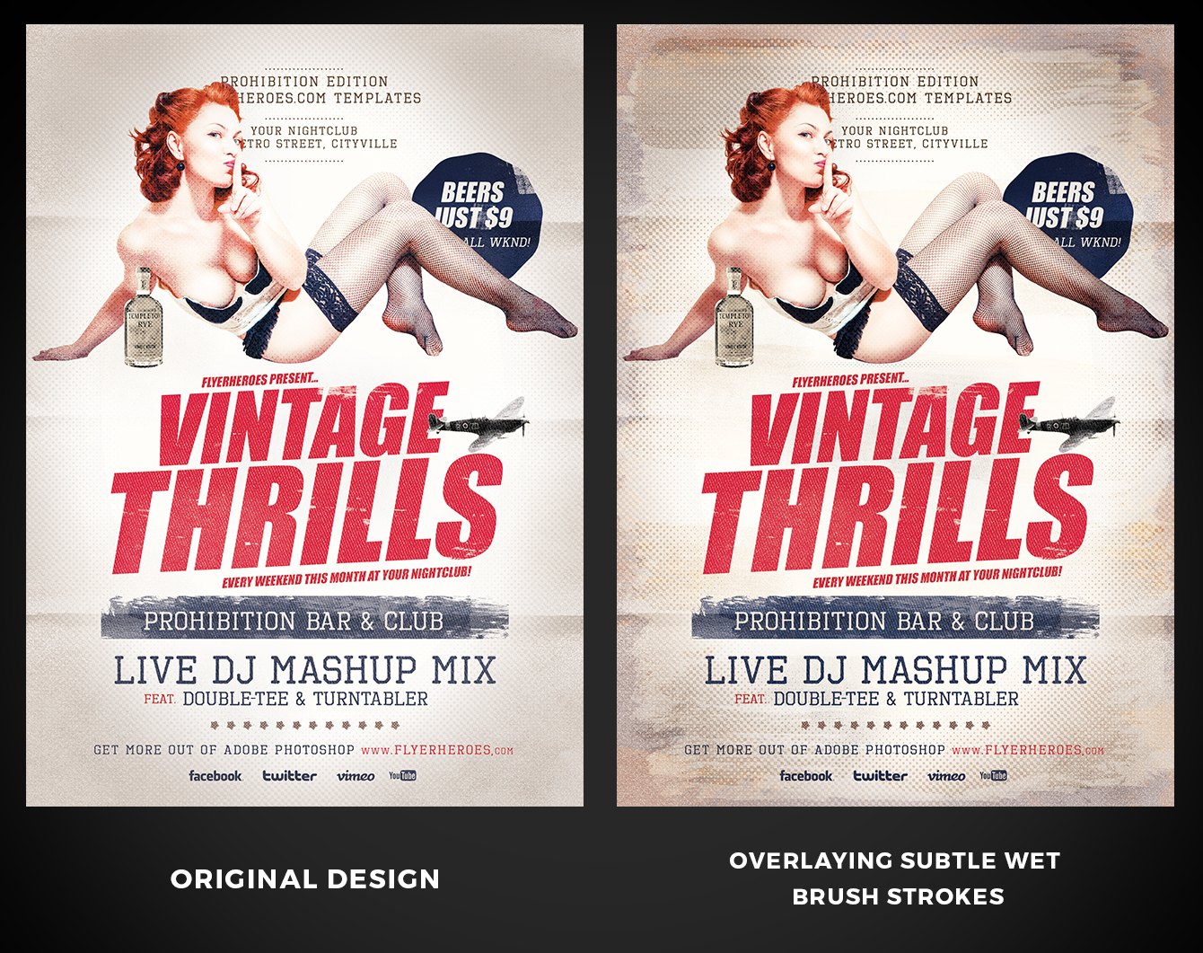 Wet Brush Stroke Wash example on Vintage Thrills Flyer Template