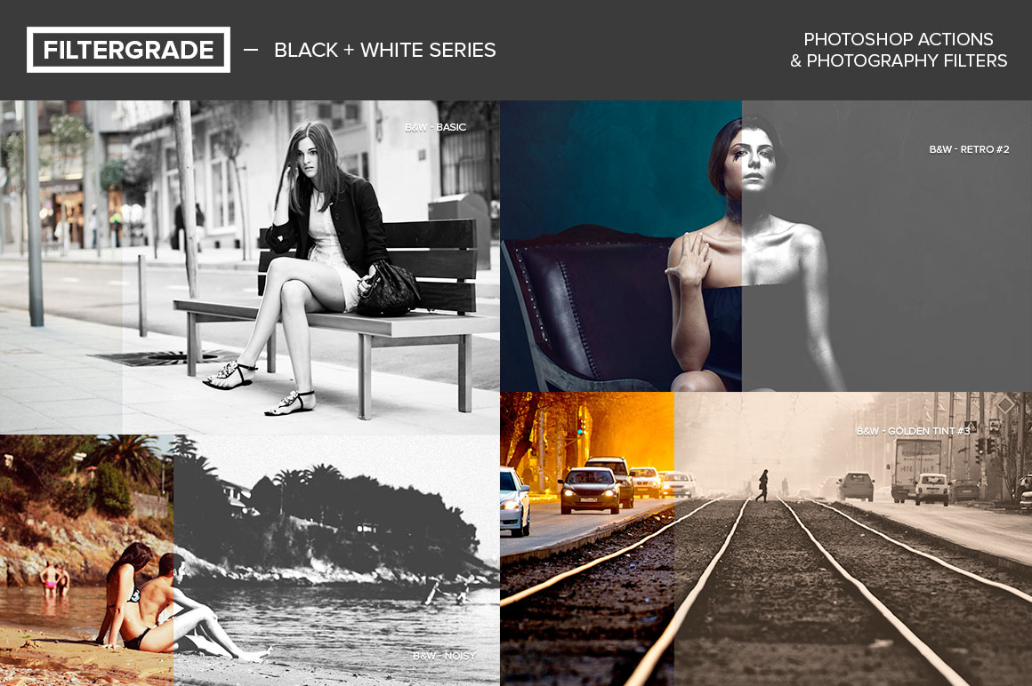 FilterGrade's Black & White Series Photoshop Actions Free for PRO Members