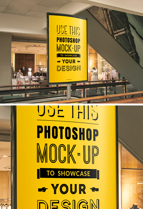 Free Indoor Advertising Poster MockUp