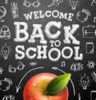 Welcome back to school sale background with red apple, vector Eps10 illustration.