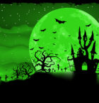 Halloween poster with zombie background. EPS 8 vector file included
