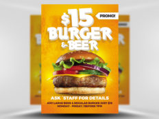 6 Design Inspiration Tips For When You're Feeling Uninspired | $15 Burger & Beer Flyer | FlyerHeroes.com