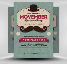 6 Design Inspiration Tips For When You're Feeling Uninspired | Movember Mustache Party Flyer | FlyerHeroes.com