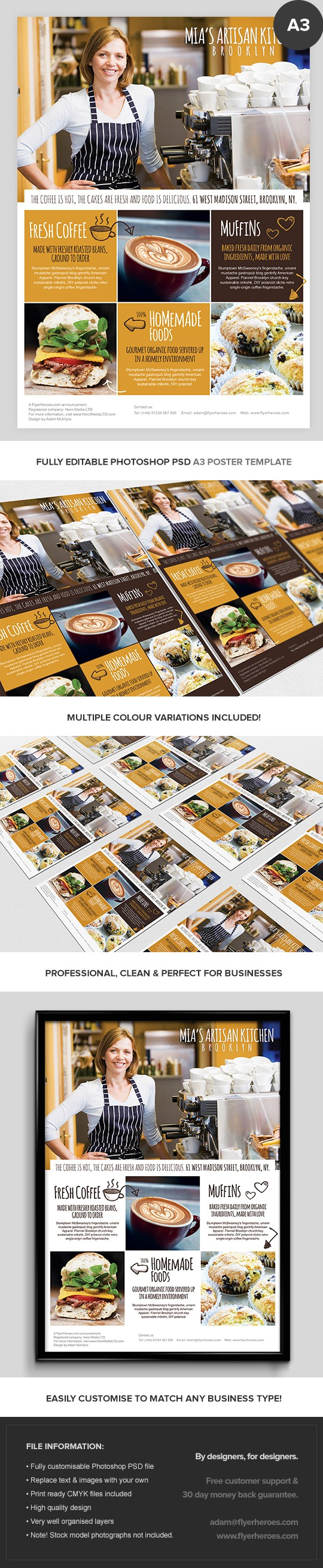 A3 Coffee Shop Poster Template