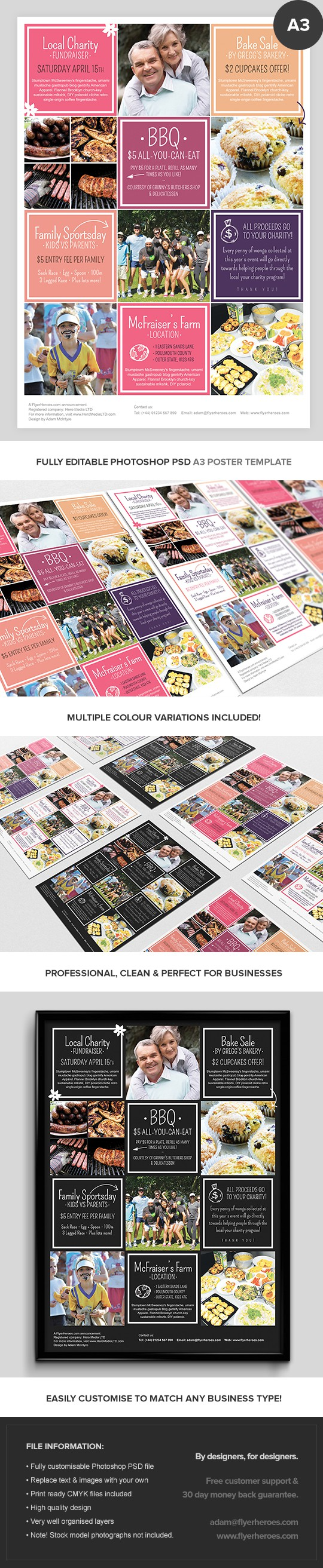 Charity Event A3 Poster Template