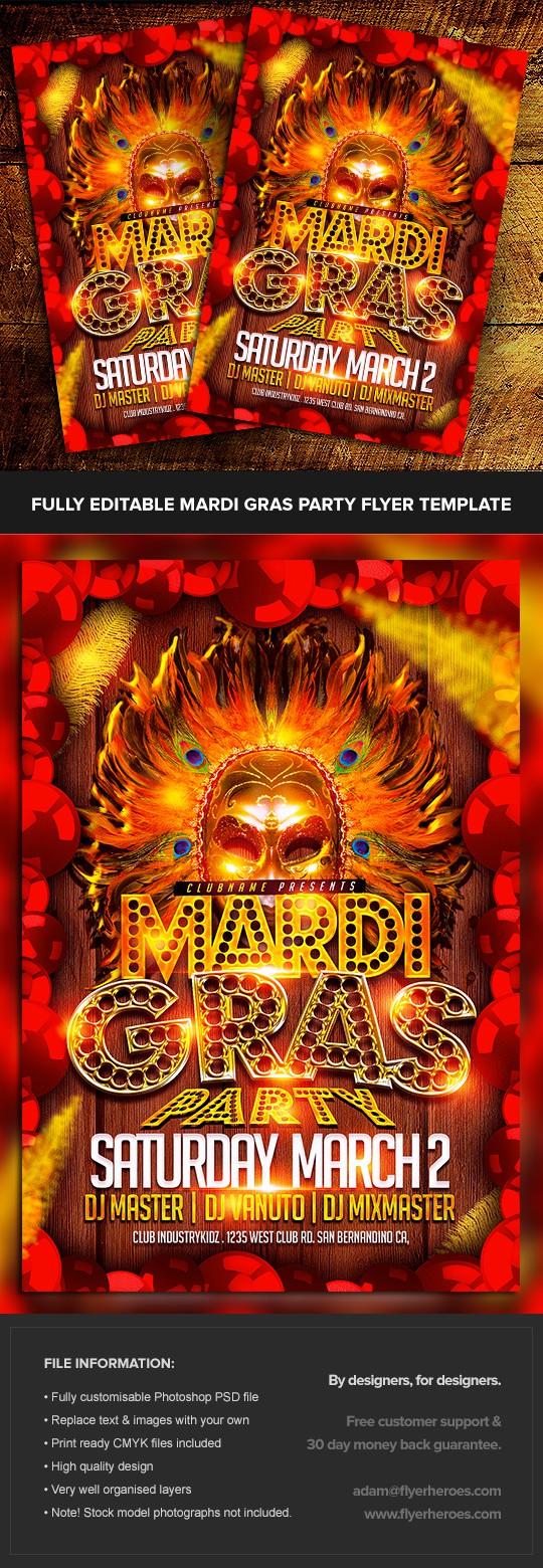 Mardi gras party flyer template flyerheroes for Flyerheroes free