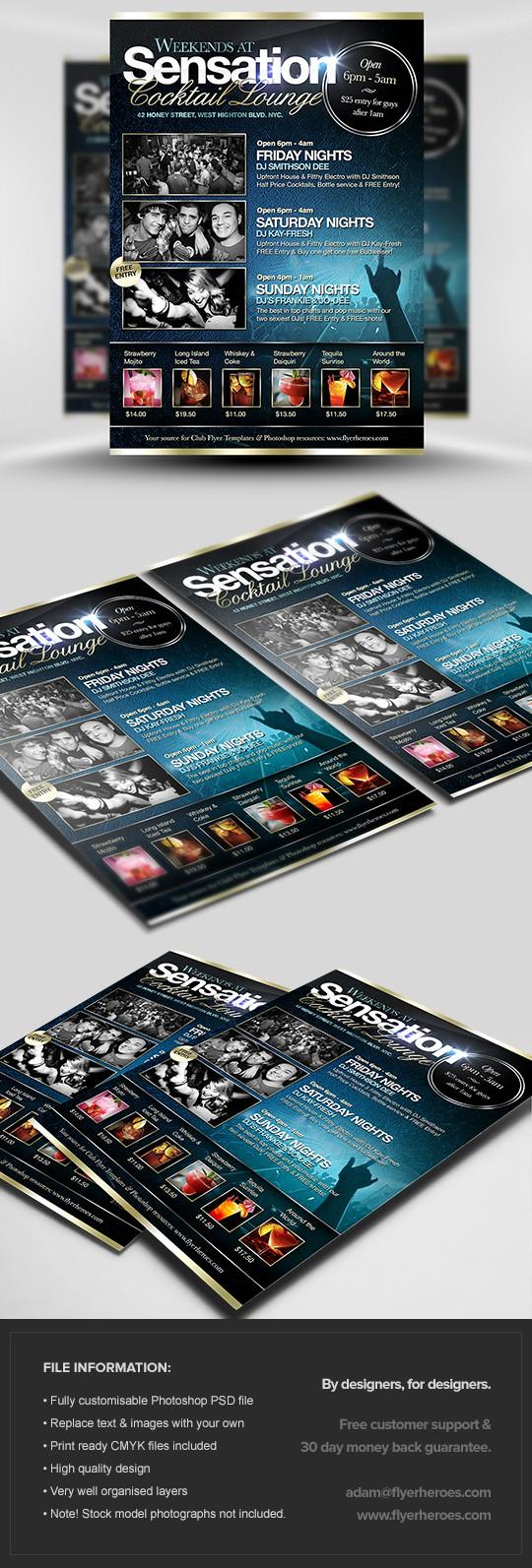 Sensation Cocktail Lounge Flyer Template