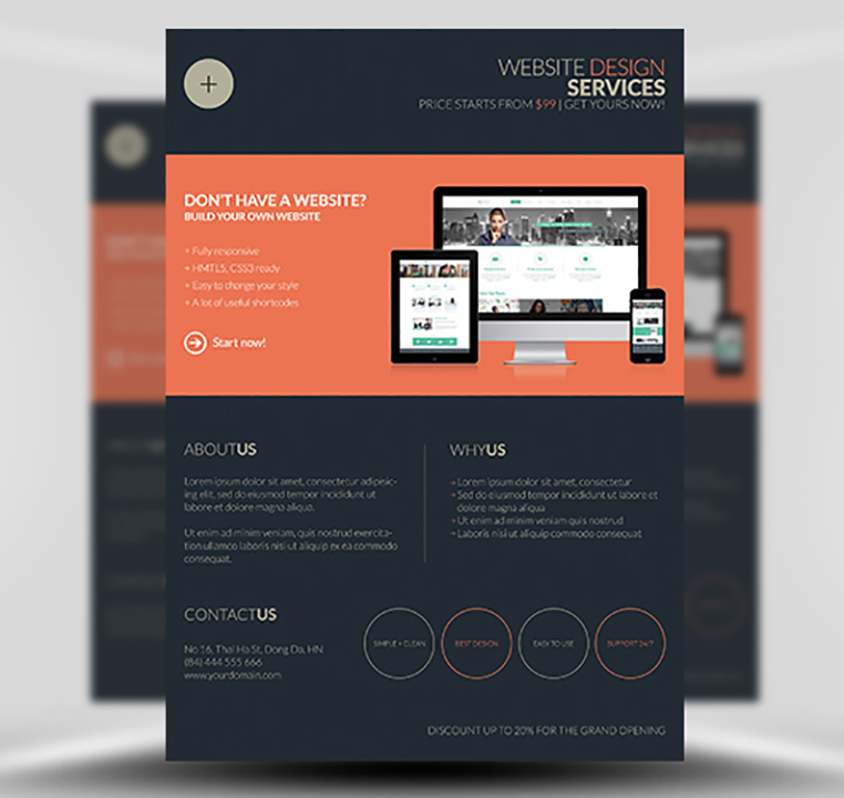 Dark Web Design Services Flyer Template - FlyerHeroes