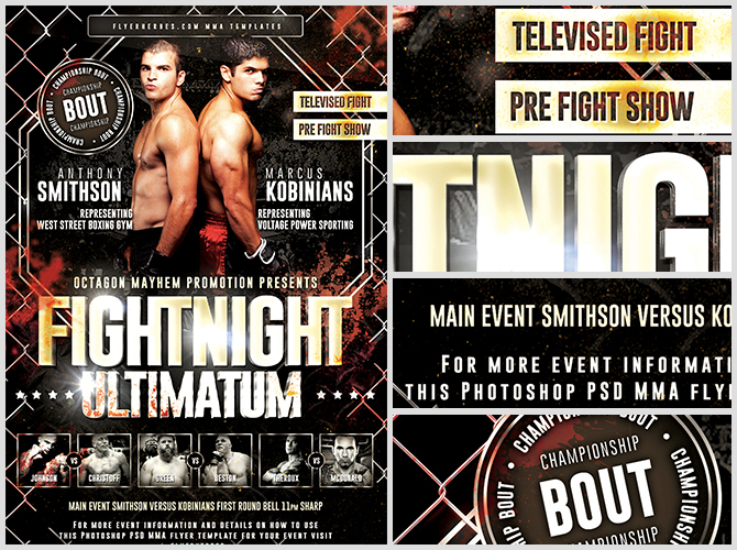 Fightnight Ultimatum MMA Flyer Template FlyerHeroes – Ufc Flyer Template