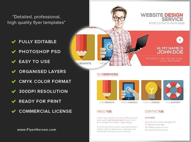 Flat Style Web Designer Flyer Template - FlyerHeroes
