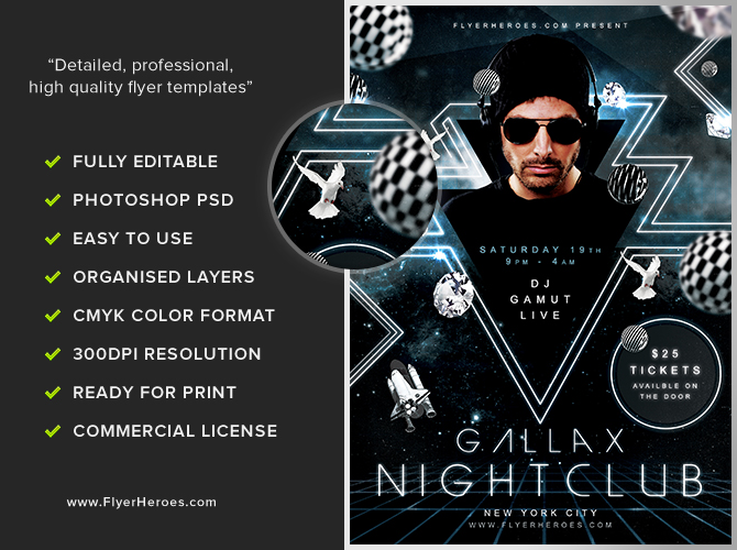 Gallax Nightclub Flyer Template FlyerHeroes – Night Club Flyer