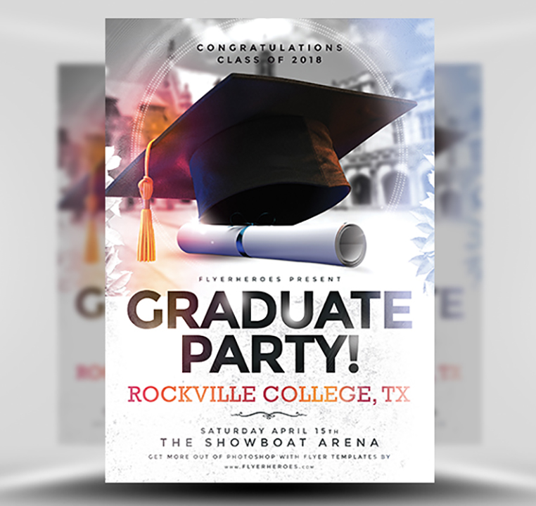 graduation party flyer template flyerheroes