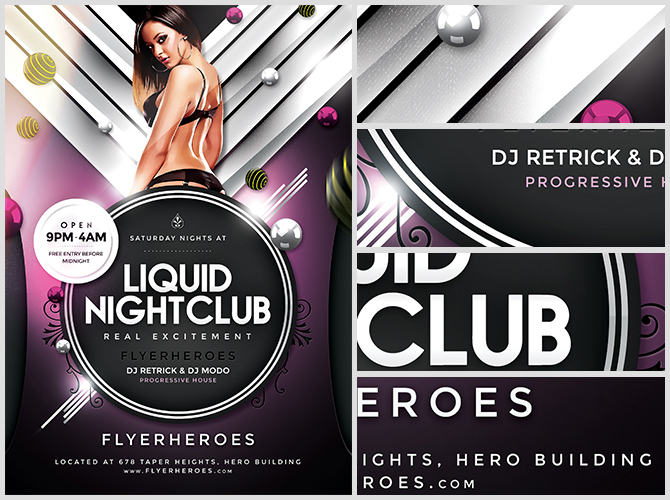 Liquid Nightclub Flyer Template - FlyerHeroes