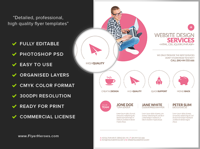 Minimal Web Design Flyer Template - FlyerHeroes