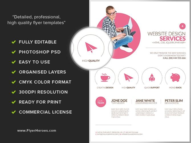 Minimal Web Design Flyer Template FlyerHeroes – Web Flyer Template