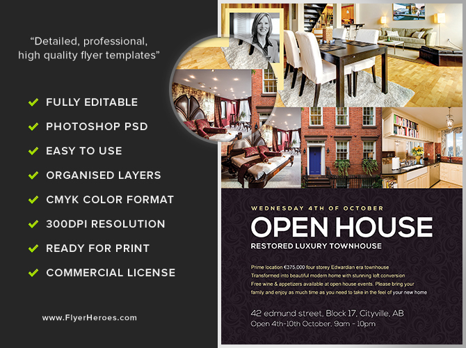 open house flyer template flyerheroes. Black Bedroom Furniture Sets. Home Design Ideas