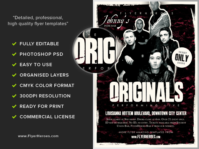 Originals Indie Band Flyer Template FlyerHeroes – Band Flyer Template