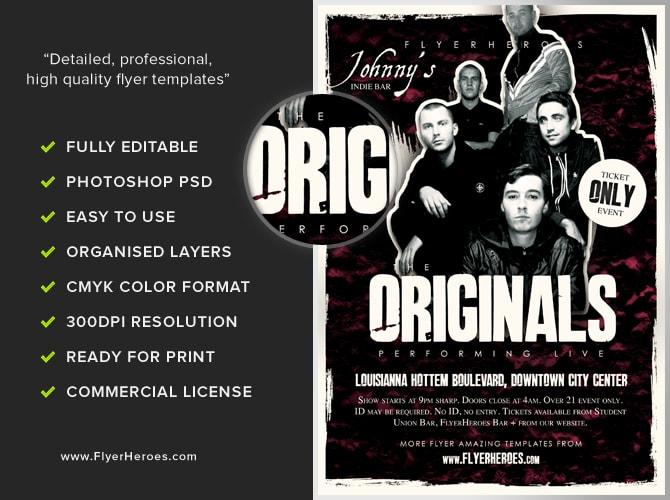 Originals Indie Band Flyer Template - FlyerHeroes