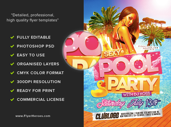 sexy pool party flyer template flyerheroes. Black Bedroom Furniture Sets. Home Design Ideas