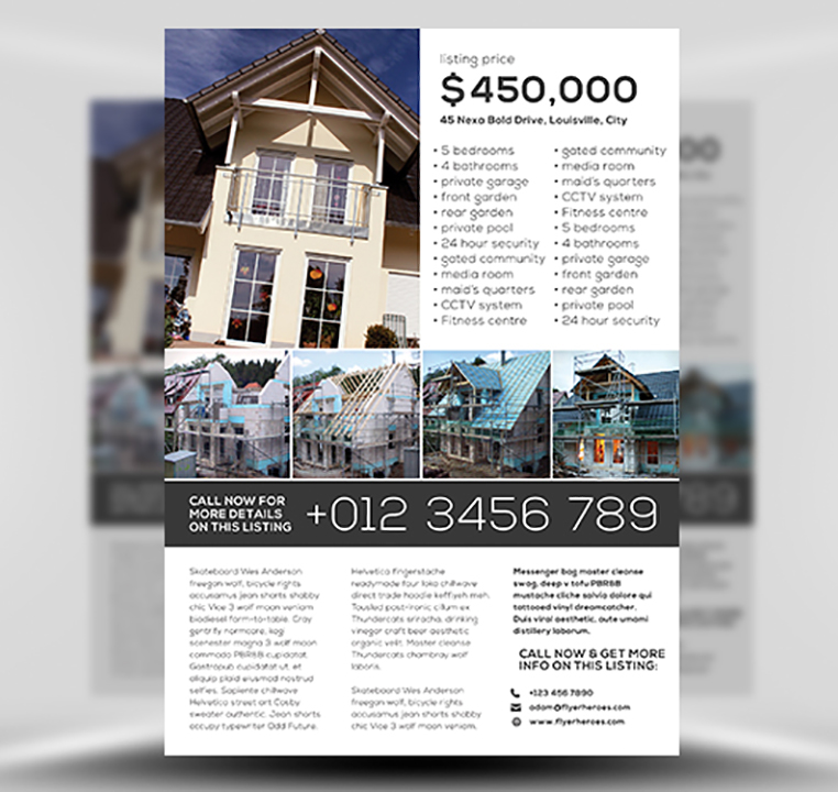 Simple Real Estate PSD Flyer Template 1
