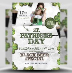 St Patrick's Day Paper Style PSD Flyer Template 1