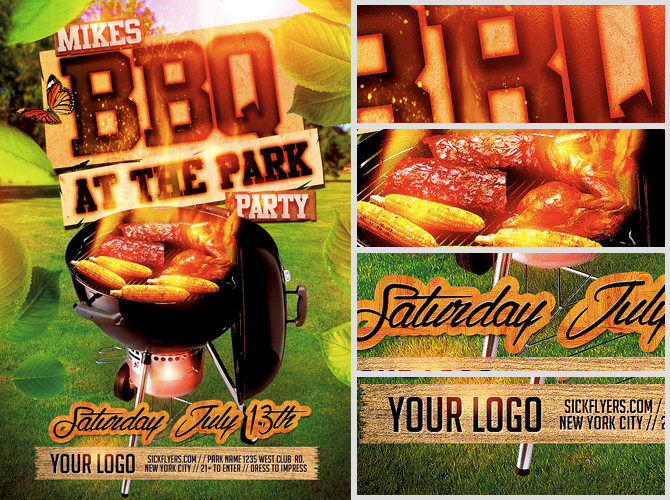 Summer BBQ Flyer Template - FlyerHeroes
