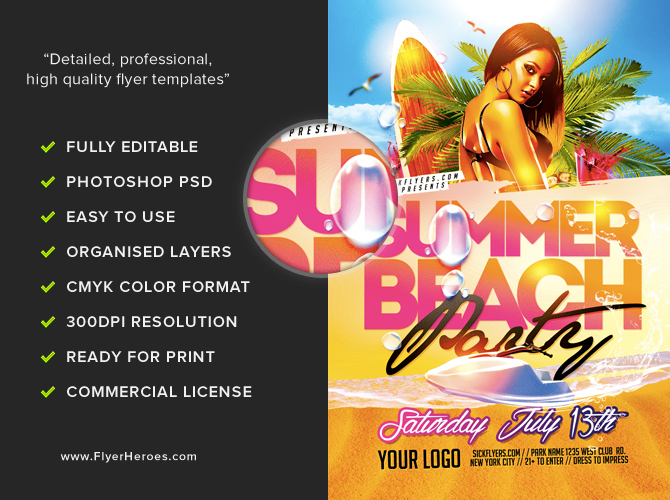 Beach Party Flyer Template 2 FlyerHeroes – Beach Party Flyer Template