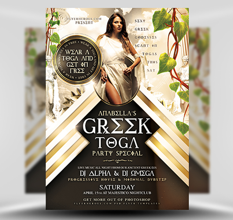 Toga Party PSD Flyer Template 1