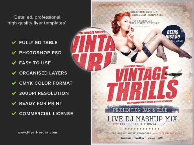 Vintage Thrills Flyer Template - Flyerheroes