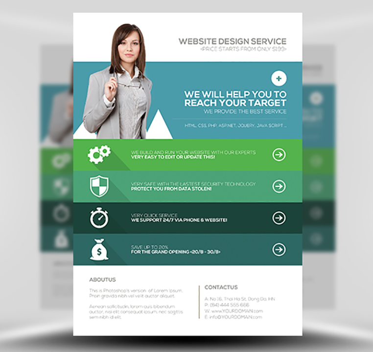 Flyer Templates Design. green vector annual report leaflet ...
