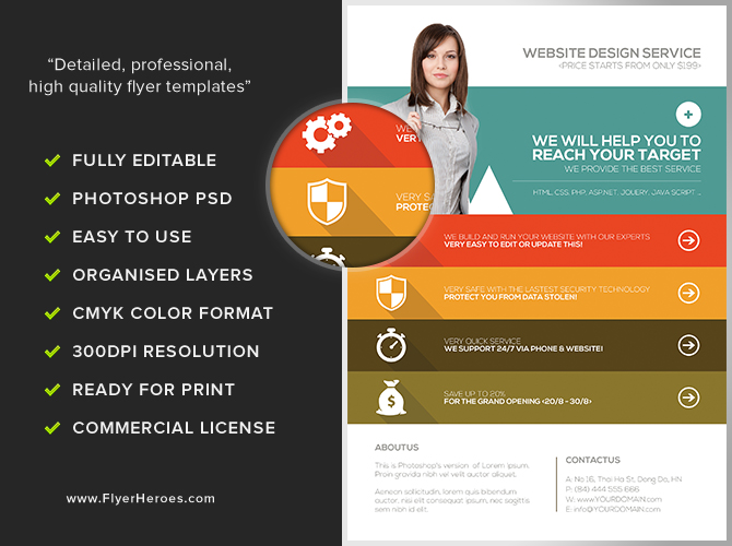 Website Flyer Template. 30 effective web mobile apps flyer psd ...