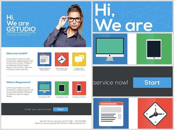 Flat Style Web Design Studio Flyer Template - FlyerHeroes