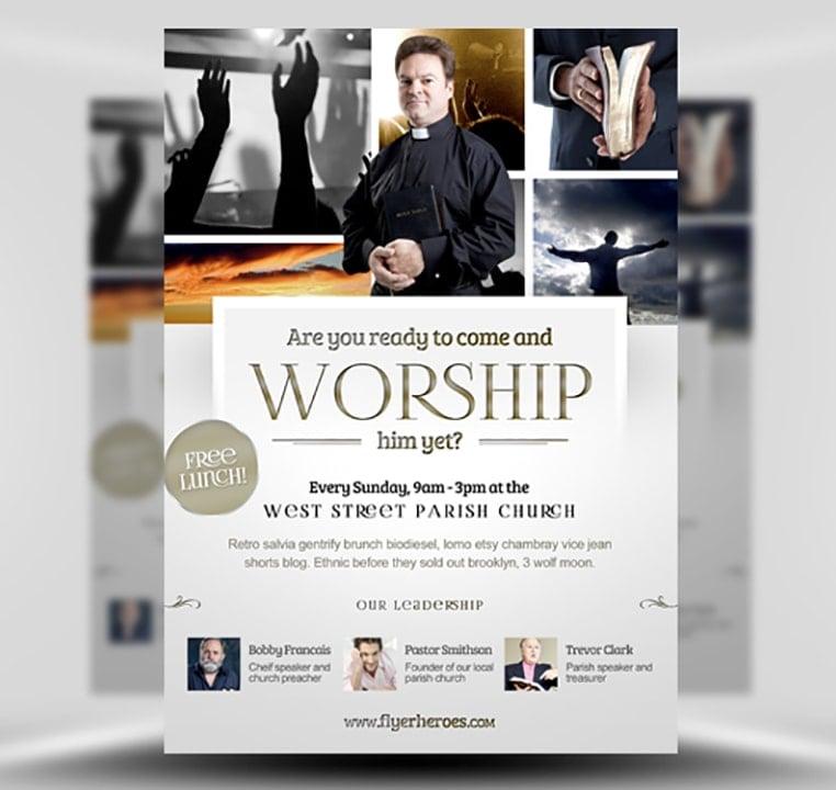 Worship Church Christian Flyer Template FlyerHeroes – Religious Flyer Templates
