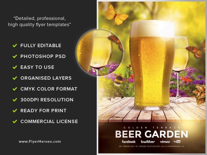 Beer Garden Flyer Template FlyerHeroes