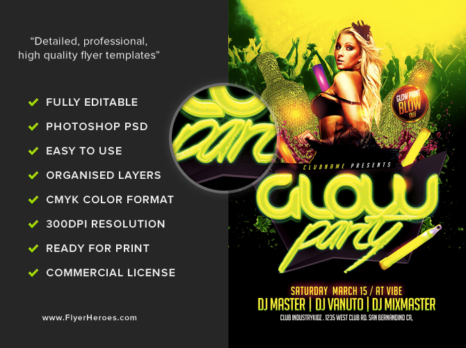 Glow Neon Party Flyer Template FlyerHeroes – Party Flyer Template