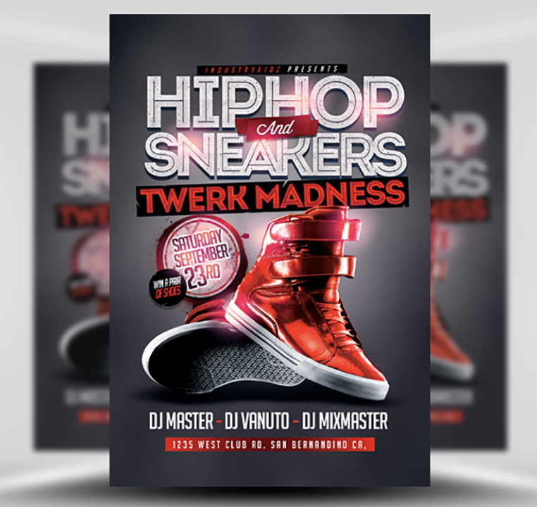 hip hop and sneakers flyer template
