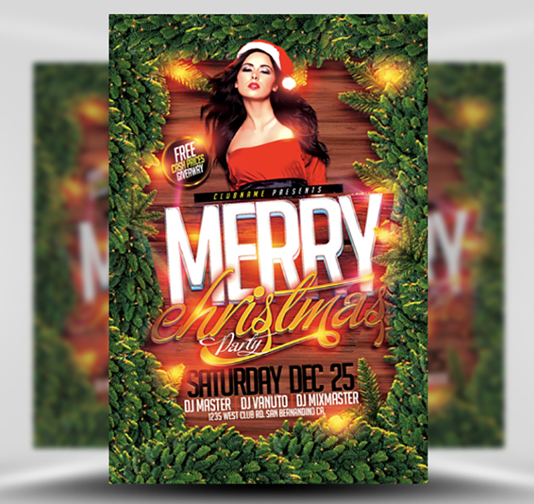Christmas Party Flyer Template.Merry Christmas Party Flyer Template Flyerheroes