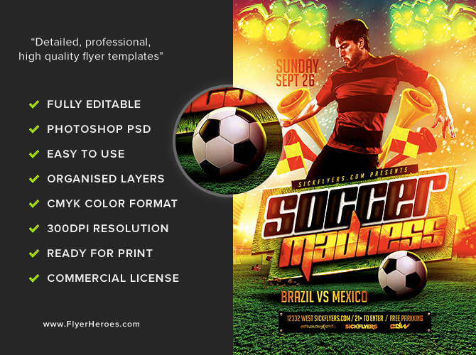 soccer madness flyer template flyerheroes. Black Bedroom Furniture Sets. Home Design Ideas