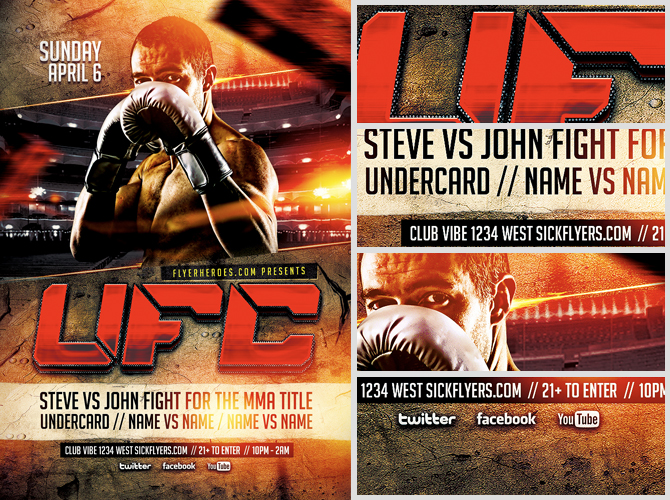 Ufc Style Fight Night Flyer Template Flyerheroes