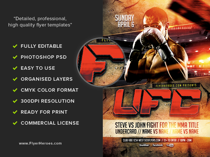 UFC Style Fight Night Flyer Template FlyerHeroes – Ufc Flyer Template