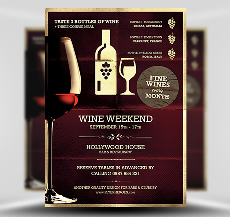 wine night poster template flyerheroes. Black Bedroom Furniture Sets. Home Design Ideas