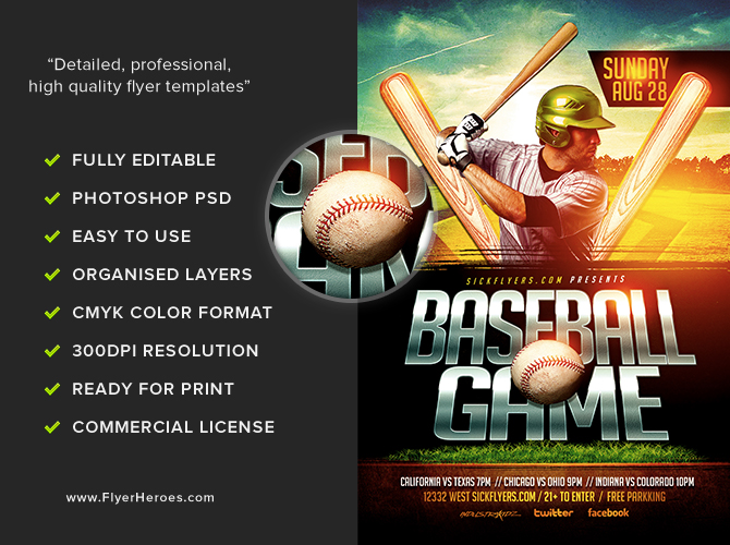 Baseball Flyer Template FlyerHeroes – Baseball Flyer