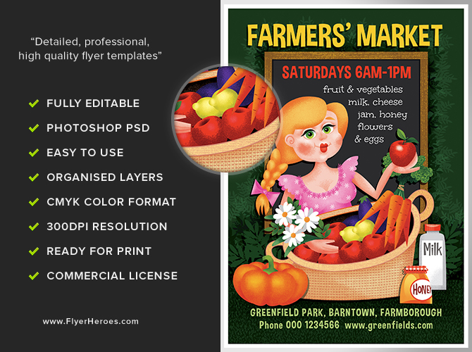 farmer u0026 39 s market flyer template