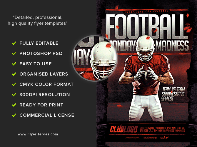 football monday madness flyer template flyerheroes. Black Bedroom Furniture Sets. Home Design Ideas