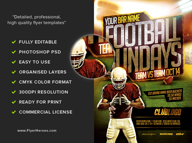 football sundays flyer template 2 flyerheroes. Black Bedroom Furniture Sets. Home Design Ideas
